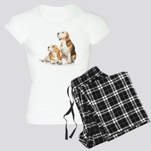 Two beagle dogs isolated on Women's Light Pajamas