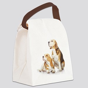 Two beagle dogs isolated on white Canvas Lunch Bag