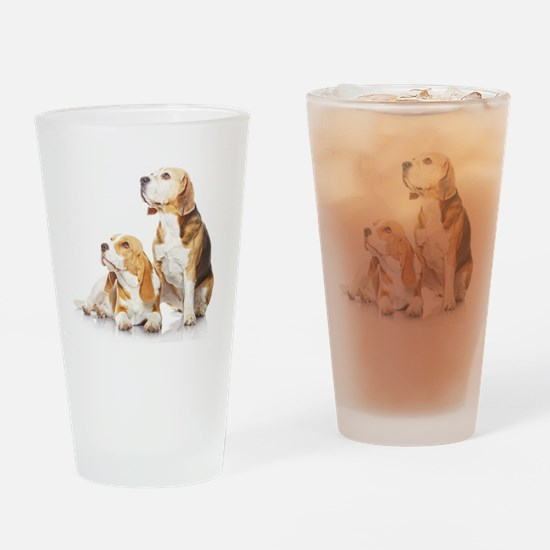 Two beagle dogs isolated on white b Drinking Glass
