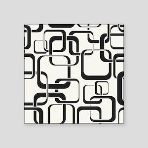 """Black and White Retro Square Sticker 3"""" x 3"""""""