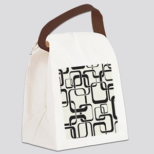 Black and White Retro Canvas Lunch Bag