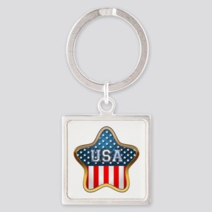 US Stars Square Keychain