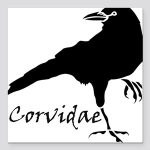 "Corvidae Square Car Magnet 3"" x 3"""