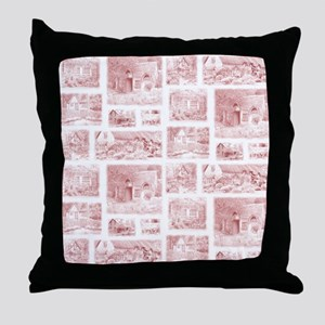 cottage toile shower curtain Throw Pillow