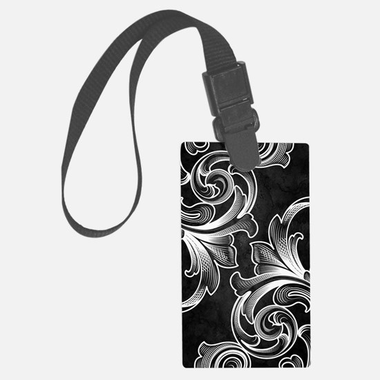 White/Black Victorian Luggage Tag