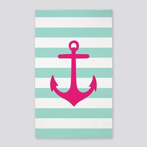 Mint And Hot Pink Anchor Stripe 3'X5' Area Rug