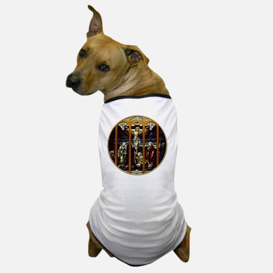 Crucifixion of Jesus Christ Stained Gl Dog T-Shirt