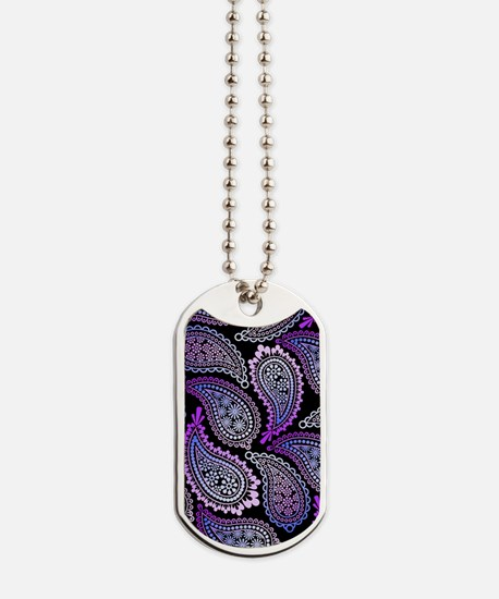 Purple Paisley Dog Tags