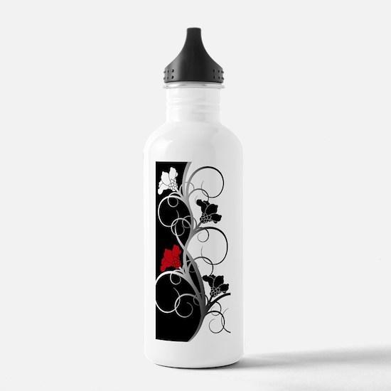 Black and White Flower Water Bottle