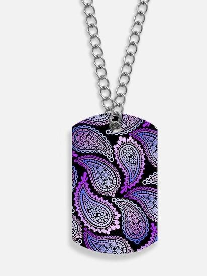 Purple Paisley Dog Tags