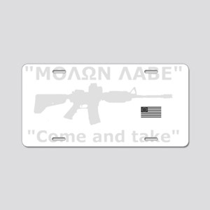 Come and Take White Aluminum License Plate