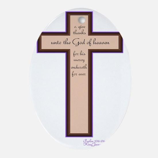 Psalm 136 26 Bible Verse Oval Ornament