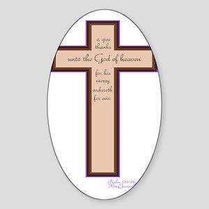 Psalm 136 26 Bible Verse Sticker (Oval)