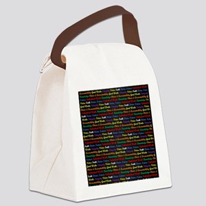 YW Values Colored on Black Canvas Lunch Bag
