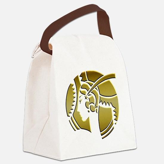Golden Art Deco Lady Canvas Lunch Bag
