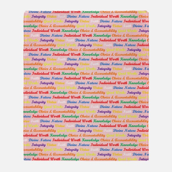 YW Values Colored on Light Pink Throw Blanket