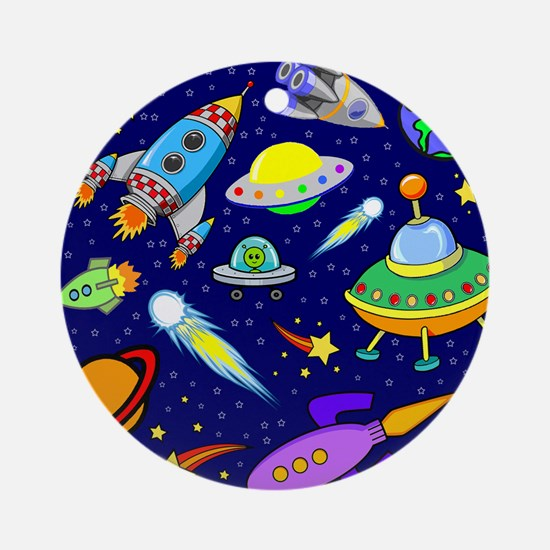 space shower curtain Round Ornament