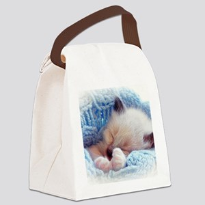 Sleeping Siamese Kitten Paws Canvas Lunch Bag