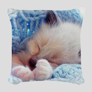 Sleeping Siamese Kitten Paws Woven Throw Pillow