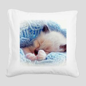 Sleeping Siamese Kitten Paws Square Canvas Pillow