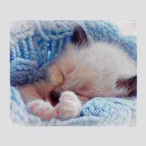 Sleeping Siamese Kitten Paws Throw Blanket