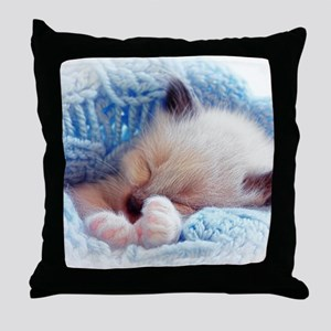 Sleeping Siamese Kitten Paws Throw Pillow