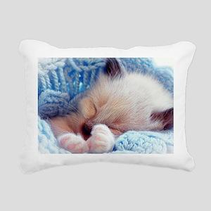 Sleeping Siamese Kitten  Rectangular Canvas Pillow