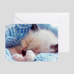 Sleeping Siamese Kitten Paws Greeting Card