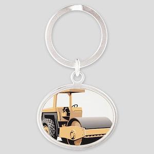 Paving Machine Oval Keychain
