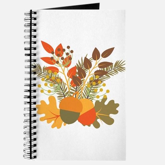 Autumn Floral Acorns Leaves Journal