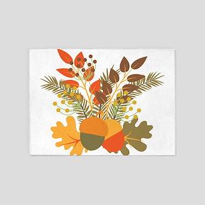 Autumn Floral Acorns Leaves 5'x7'Area Rug