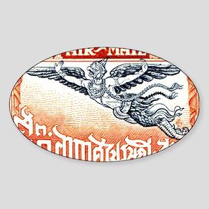 Antique Thailand 1925 Garuda Postag Sticker (Oval)