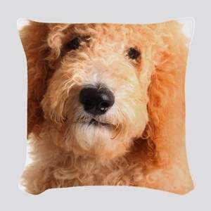 Golden doodle puppy Woven Throw Pillow