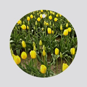 Yellow Field of Tulips Round Ornament
