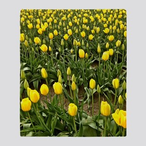 Yellow Field of Tulips Throw Blanket