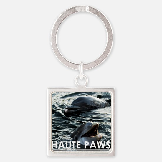 Haute Paws Happy Dolphin Square Keychain