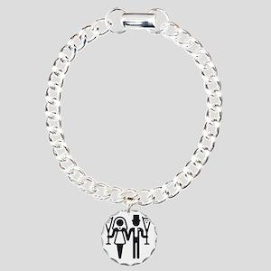 Bridal Pair With Sparkli Charm Bracelet, One Charm
