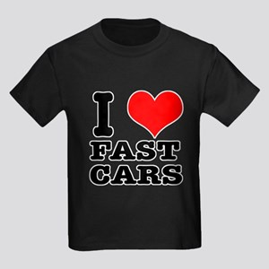 I Heart (Love) Fast Cars Kids Dark T-Shirt