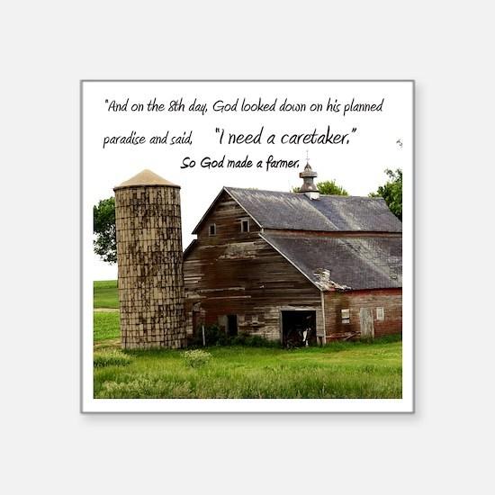 """God Made a Farmer Square Sticker 3"""" x 3"""""""