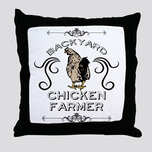 Backyard Chicken Farmer Throw Pillow