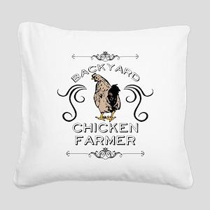 Backyard Chicken Farmer Square Canvas Pillow