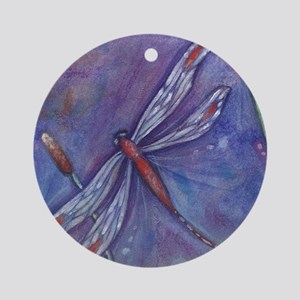 Purple Dragonfly Round Ornament