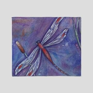 Purple Dragonfly Throw Blanket