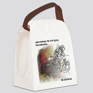 The Real Fun Begins Dirt Bike Mot Canvas Lunch Bag