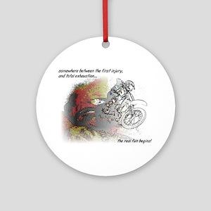 The Real Fun Begins Dirt Bike Motoc Round Ornament