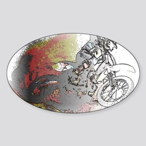The Real Fun Begins Dirt Bike Motoc Sticker (Oval)