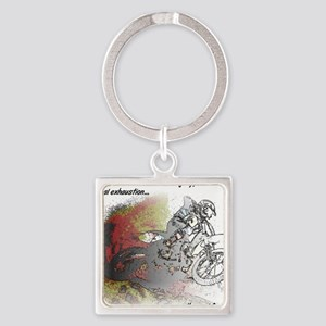 The Real Fun Begins Dirt Bike Moto Square Keychain