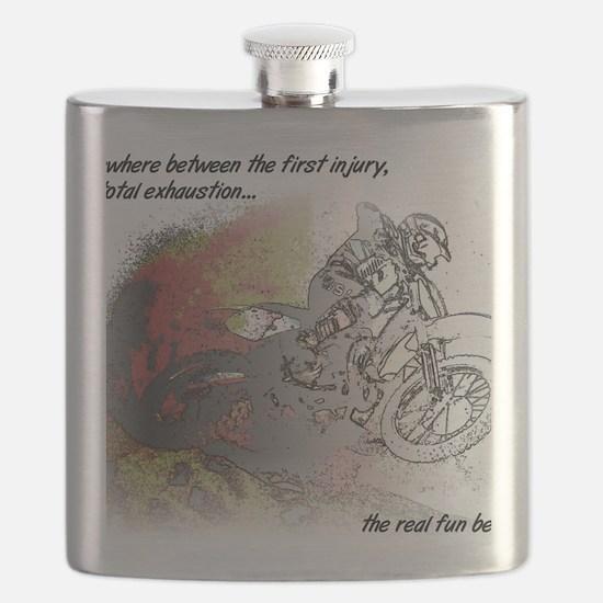 The Real Fun Begins Dirt Bike Motocross Flask
