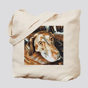 Chocolate Lab, Head on Sofa Tote Bag