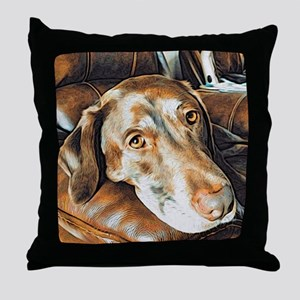 Chocolate Lab, Head on Sofa Throw Pillow